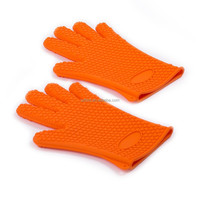 Heat resistant silicone cooking gloves , bbq silicone gloves