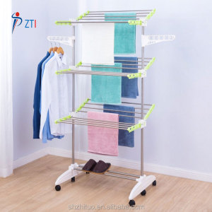 Folding heavy duty three layer balcony clothes hanging drying rack