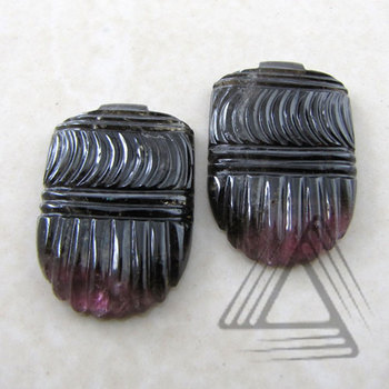 Hand Crafted Pair of Multi-Color Tourmaline Gemstone, Fashionable Hand Made Gemstone