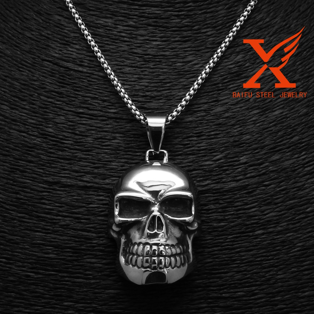 Cheap Stainless Steel Large Skull Jewelry Pendant Mounts Skeleton Pendant