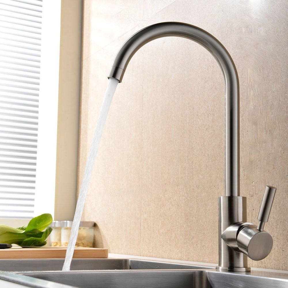 Brushed Nickel Modern Kitchen Sink Faucet , Easy Installation