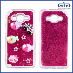 3D DIY For Samsung G530 liquid Quicksand Bling Stars Back Cover with soft tpu frame