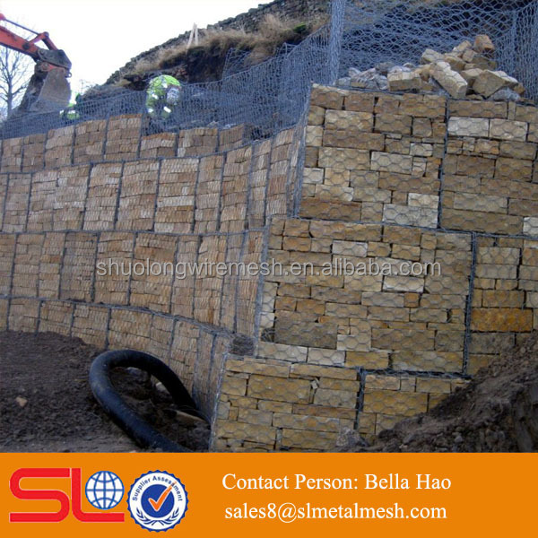Hexagonal gabion chicken wire netting gabion basket retaining wall