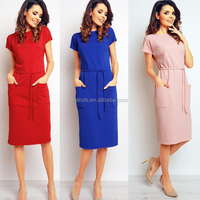 Wholesale Fashion New Style Fancy Red Casual Midi Dress Formal Career Slim Ladies Straight Dress For Office With Big Pockets