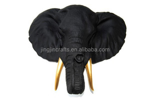 black elephant with bronze tusks wall mounts ,wall-mounted resin elephant head ,wall hanging sculpture