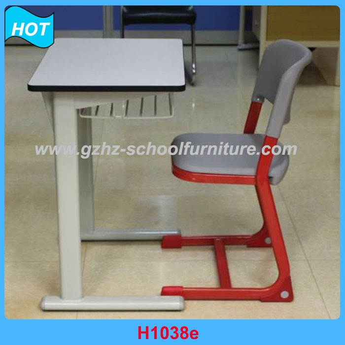 Low Price Guangzhou School Desk with Attach Chait Steel Tube Metal Frame Table and Chairs for Students