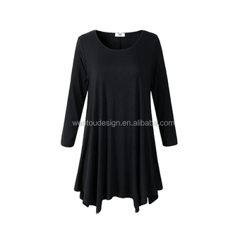 Wholesale Long Sleeve Loose Dress Tunic Tops for Ladies