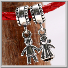 Cheap 925 silver jewelry oxidized European dangle boy & girl Charm fit for immitation DIY bracelets