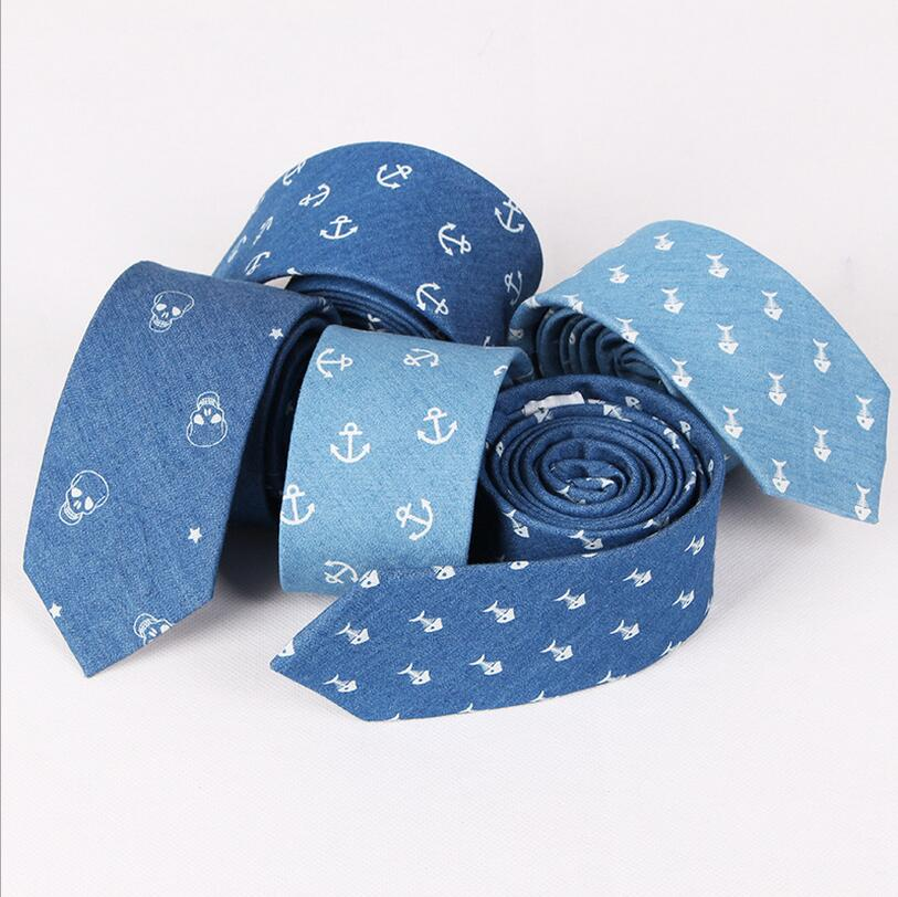 DM 729 Fashion Personal jean unique anchor pattern print casual mens blue ties for men