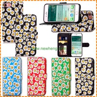 Hot selling Chrysanthemum Colored Printing tpu+PU stand flip Leather Case For Iphone 7 plus