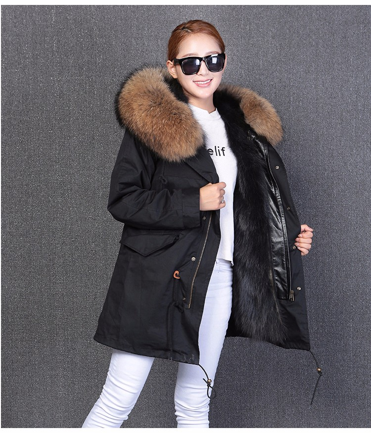 Winter Fashion Warm Army Hooded Long Sleeve Real Fur Collar Parka