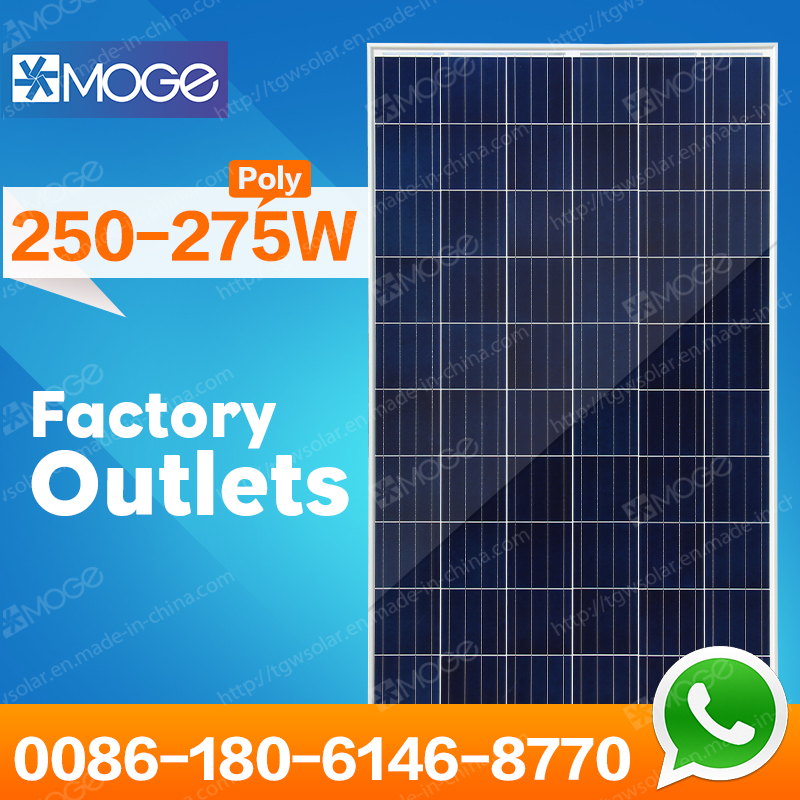 Moge best price per watt polycrystalline silicon solar panel 250-275W with long warranty