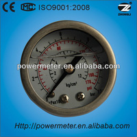 50mm back connection liquid filled stainless steel dial test gauge