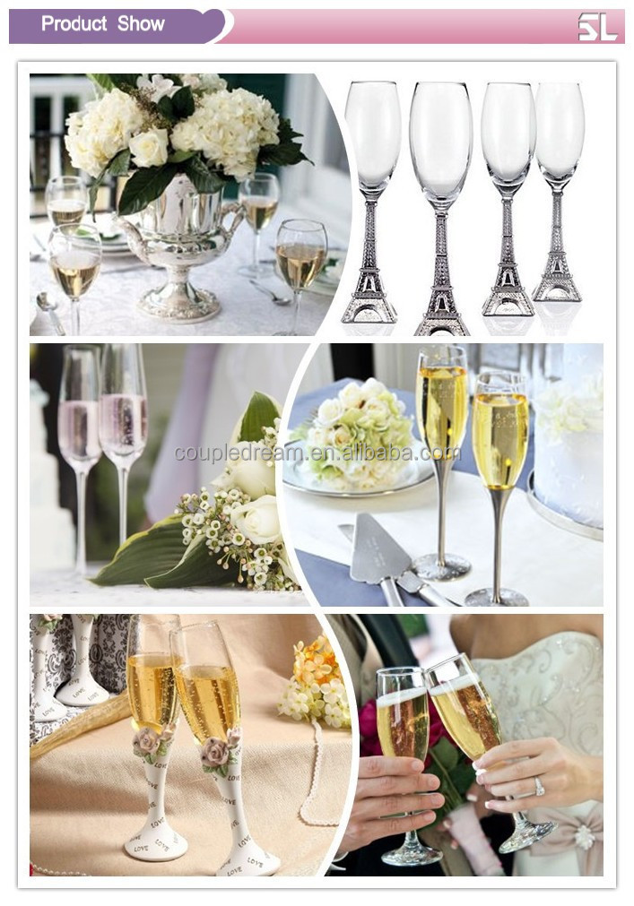 Unique Couple Champagne Glasses Made With Eco-friendly Spotless Silver Plating OEM Laser Cut Logo Offered Wholesale Price