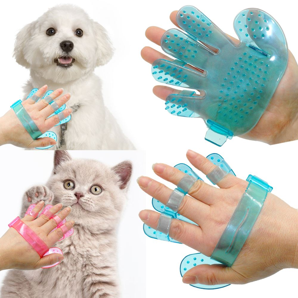 Pet Dog Cat Grooming Shower Bath Massage Brush Comb Hand Shaped Glove Comb Blue Pink
