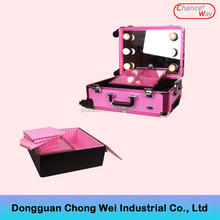 Cosmetic makeup artist rolling case with lights and stand