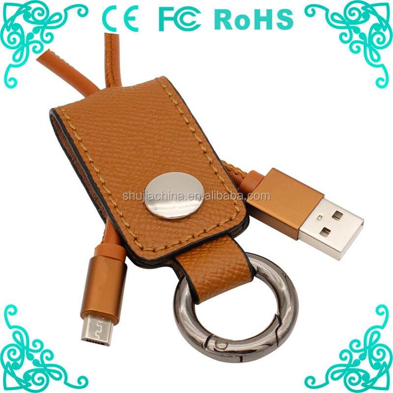 Best Selling Short Colorful Leather Keychain USB Cable for phone charger