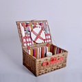 Classic Willow Picnic Basket for 4/A Good Choice for Outing Dining