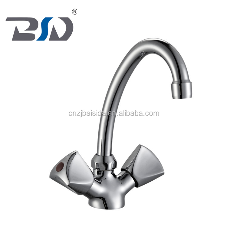 Polished chrome deck mounted economical double handle cheap sink mixer kitchen faucet