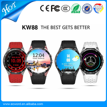 1.39 Inch HD Screen MTK6580 Quad Core 3G Smart Watch KW88 Android 5.1 Smartwatch 400mAh 2.0 MP Camera Heart Rate Monitor