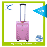pink carving flower latest hotsale fashional design cheaper leather luggage /trolley case/travel bag on wheels