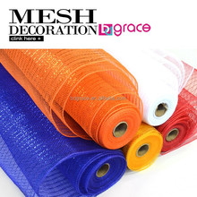 Orange color deco mesh ribbon for christmas outdoor decoration mesh butterfly