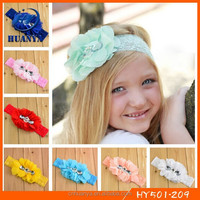 Fashion Toddler Chiffon Flower with Rhinestone Elastic Lace Infant Headbands
