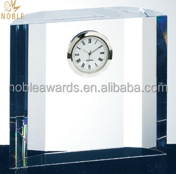 Customized Cheap Clear Wholesale Modern Crystal Small Desk Clock For Home Decorative