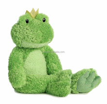 Cuddly Green Frog with Golden Crown Soft Animal Toy for Baby