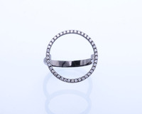 R0219 jewelry fashion rings black plating sterling silver circle mood ring