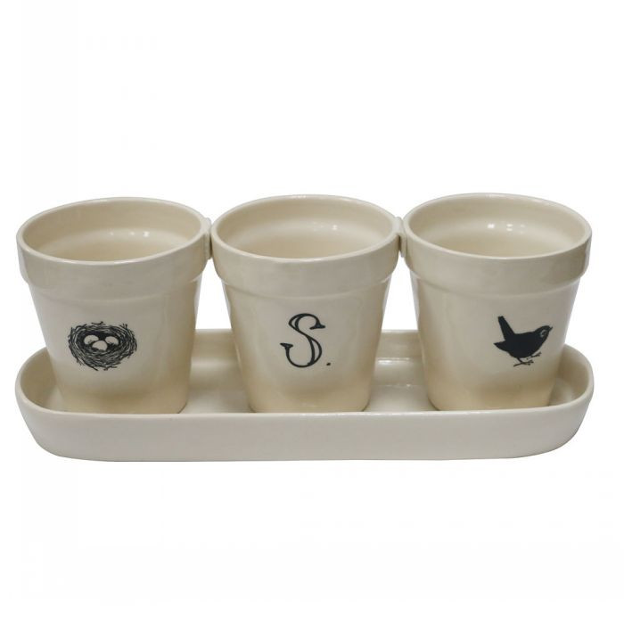 Set of 3 Simple White Glazed Ceramic Flower Pot with Saucer