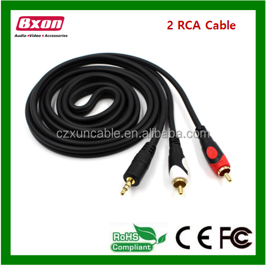 Brazil market Car audio 2 rca to 3.5mm stereo cable