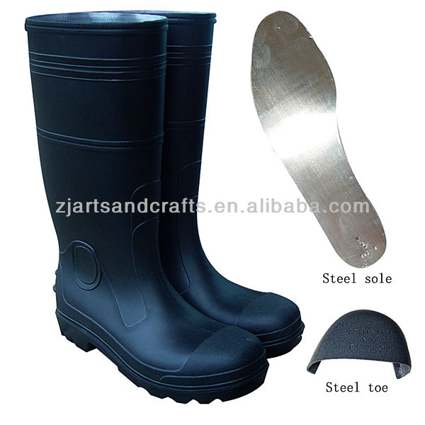 Black PVC with steel toe and sole steel boot largest shoe manufacturer