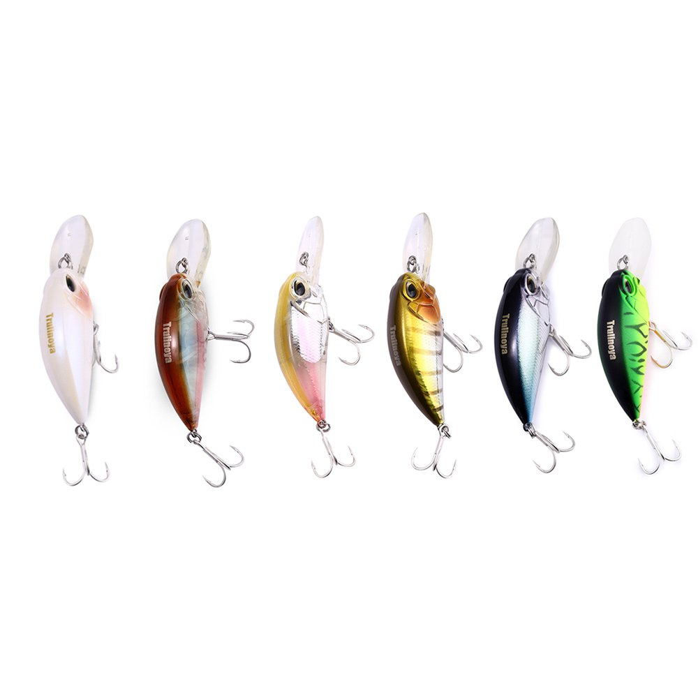 Trulinoya 1pcs Hot Sale DW32 60mm Fishing Lure Crank Artificial Hard Baits with 2 BBK HookS