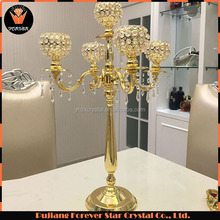 wholesale tall wedding centerpieces 5 arm crystal metal candelabras