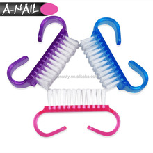 New Mini Pink Blue Purple Finger Nail Cleaning Tools Plastic Nail Art Dust Cleaning Brush