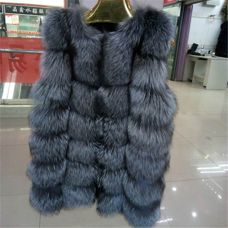 Factory Direct Sale Real Silver Fox Fur gilet Medium Long Fahion real fur vest