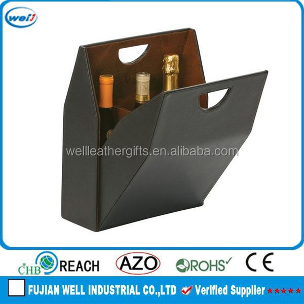 luxury faux leather wine bag wine box wine carrier for father's day gift
