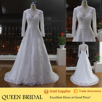 Newest Style V-neck Long Sleeve Transparent Back Appliqued Lace Sequined Muslim Wedding Gown Pictures