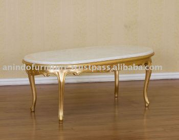 French Reproduction Table - Gold Gilt Versailles Marble Top Coffee Table