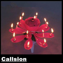 wholesale opening flower sharp rotating music firework birthday candle with 14 pcs samll candle inside