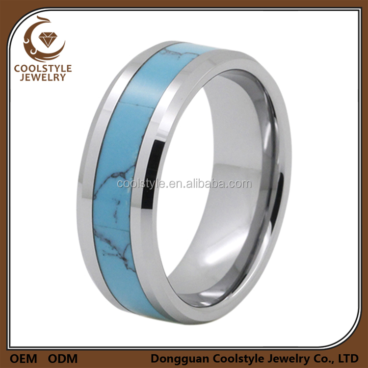 Cheap mens titanium turquoise inlay wedding band ring with beveled edges
