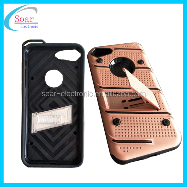 Shockproof silicone pc hybrid case with kickstand for Iphone 7 8 and for Samsung other phone protective case