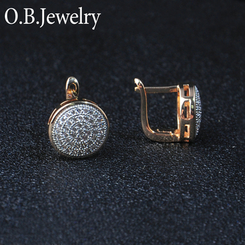 Small MOQ Micro Pave Earring Jewelry Gold Plated Brazilian Gold Earrings