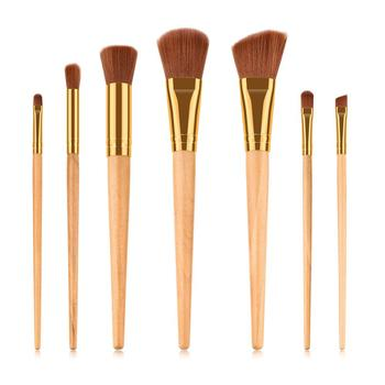 7 PCS Bamboo Cosmetics Brush Bamboo Handle  Powder Makeup Brushes