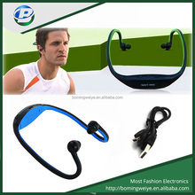 Light sports neckband wireless stereo headphone with sd card slot/fm radio