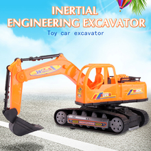 Best selling wholesale friction inertia mini truck toy navvy plastic engineering excavator model kids toy