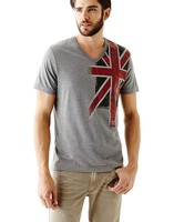 Wholesale fashion v neck custom uk flag printing men t shirts