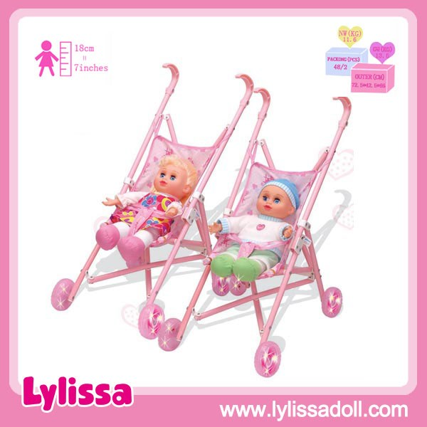 2018 Newest Doll Stroller and 13 Inch Baby Doll with 4 Sounds IC