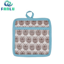 Promotional Microwave Oven Gloves Printed Cheap Pot Holder with Owl Printing